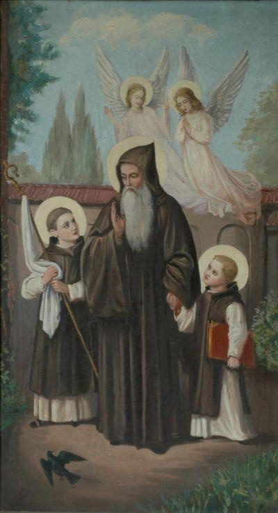 Św. Benedykt oraz Maur i Placyd w cysterskich habitach